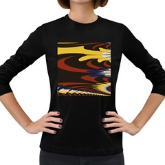 Peacock Abstract Fractal Women s Long Sleeve Dark T-Shirts
