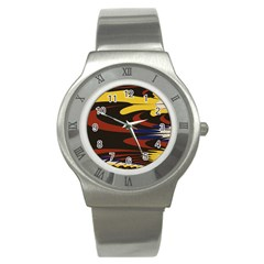 Peacock Abstract Fractal Stainless Steel Watch