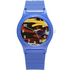 Peacock Abstract Fractal Round Plastic Sport Watch (S)