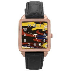Peacock Abstract Fractal Rose Gold Leather Watch