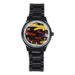 Peacock Abstract Fractal Stainless Steel Round Watch