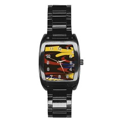 Peacock Abstract Fractal Stainless Steel Barrel Watch