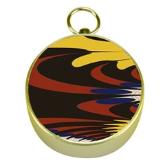 Peacock Abstract Fractal Gold Compasses