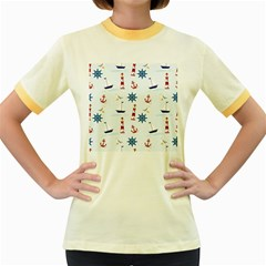 Seaside Nautical Themed Pattern Seamless Wallpaper Background Women s Fitted Ringer T Shirts