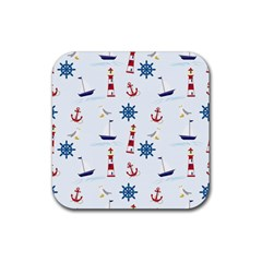 Seaside Nautical Themed Pattern Seamless Wallpaper Background Rubber Square Coaster (4 Pack)
