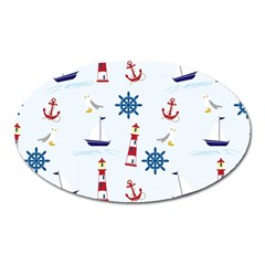 Seaside Nautical Themed Pattern Seamless Wallpaper Background Oval Magnet