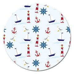 Seaside Nautical Themed Pattern Seamless Wallpaper Background Magnet 5  (Round)