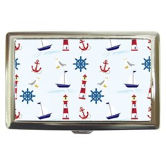 Seaside Nautical Themed Pattern Seamless Wallpaper Background Cigarette Money Cases