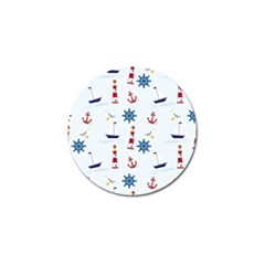 Seaside Nautical Themed Pattern Seamless Wallpaper Background Golf Ball Marker (4 pack)