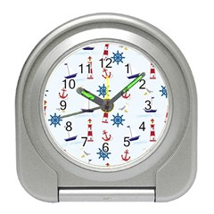 Seaside Nautical Themed Pattern Seamless Wallpaper Background Travel Alarm Clocks