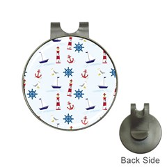 Seaside Nautical Themed Pattern Seamless Wallpaper Background Hat Clips With Golf Markers