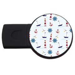 Seaside Nautical Themed Pattern Seamless Wallpaper Background Usb Flash Drive Round (4 Gb)