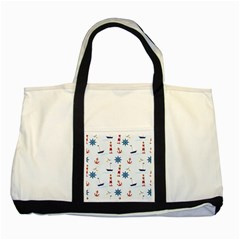 Seaside Nautical Themed Pattern Seamless Wallpaper Background Two Tone Tote Bag