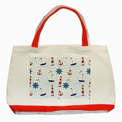 Seaside Nautical Themed Pattern Seamless Wallpaper Background Classic Tote Bag (Red)