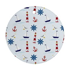 Seaside Nautical Themed Pattern Seamless Wallpaper Background Round Ornament (Two Sides)