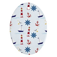 Seaside Nautical Themed Pattern Seamless Wallpaper Background Oval Ornament (Two Sides)