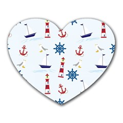 Seaside Nautical Themed Pattern Seamless Wallpaper Background Heart Mousepads