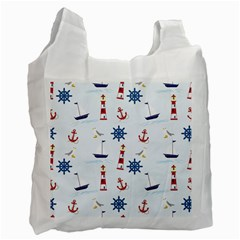 Seaside Nautical Themed Pattern Seamless Wallpaper Background Recycle Bag (two Side)