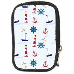 Seaside Nautical Themed Pattern Seamless Wallpaper Background Compact Camera Cases