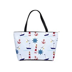 Seaside Nautical Themed Pattern Seamless Wallpaper Background Shoulder Handbags