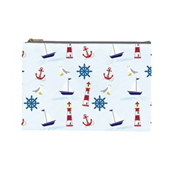 Seaside Nautical Themed Pattern Seamless Wallpaper Background Cosmetic Bag (Large)