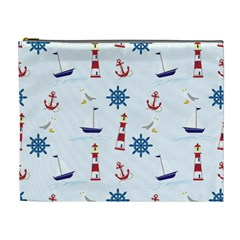 Seaside Nautical Themed Pattern Seamless Wallpaper Background Cosmetic Bag (XL)
