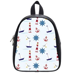 Seaside Nautical Themed Pattern Seamless Wallpaper Background School Bags (Small)
