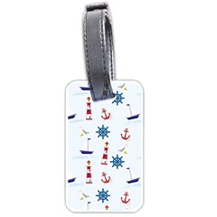 Seaside Nautical Themed Pattern Seamless Wallpaper Background Luggage Tags (one Side)