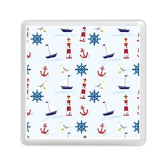 Seaside Nautical Themed Pattern Seamless Wallpaper Background Memory Card Reader (square)