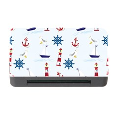 Seaside Nautical Themed Pattern Seamless Wallpaper Background Memory Card Reader With Cf