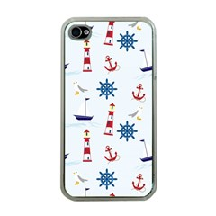 Seaside Nautical Themed Pattern Seamless Wallpaper Background Apple iPhone 4 Case (Clear)