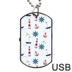 Seaside Nautical Themed Pattern Seamless Wallpaper Background Dog Tag Usb Flash (two Sides)