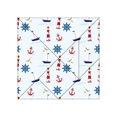 Seaside Nautical Themed Pattern Seamless Wallpaper Background Acrylic Tangram Puzzle (4  x 4 )