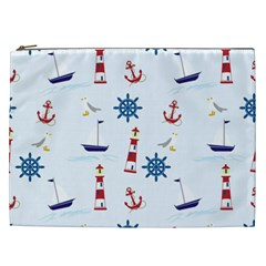 Seaside Nautical Themed Pattern Seamless Wallpaper Background Cosmetic Bag (XXL)