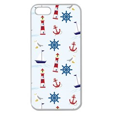 Seaside Nautical Themed Pattern Seamless Wallpaper Background Apple Seamless iPhone 5 Case (Clear)