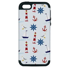 Seaside Nautical Themed Pattern Seamless Wallpaper Background Apple Iphone 5 Hardshell Case (pc+silicone)