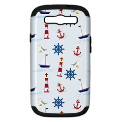 Seaside Nautical Themed Pattern Seamless Wallpaper Background Samsung Galaxy S III Hardshell Case (PC+Silicone)