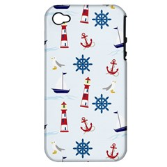 Seaside Nautical Themed Pattern Seamless Wallpaper Background Apple iPhone 4/4S Hardshell Case (PC+Silicone)