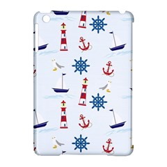 Seaside Nautical Themed Pattern Seamless Wallpaper Background Apple iPad Mini Hardshell Case (Compatible with Smart Cover)