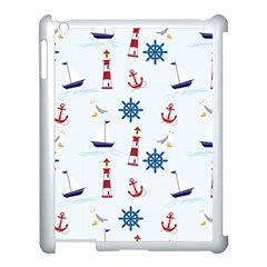 Seaside Nautical Themed Pattern Seamless Wallpaper Background Apple iPad 3/4 Case (White)