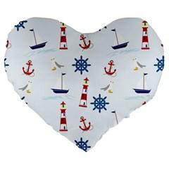 Seaside Nautical Themed Pattern Seamless Wallpaper Background Large 19  Premium Heart Shape Cushions