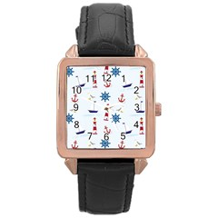 Seaside Nautical Themed Pattern Seamless Wallpaper Background Rose Gold Leather Watch