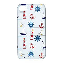 Seaside Nautical Themed Pattern Seamless Wallpaper Background Apple iPhone 4/4S Hardshell Case with Stand