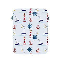 Seaside Nautical Themed Pattern Seamless Wallpaper Background Apple iPad 2/3/4 Protective Soft Cases