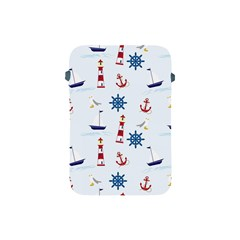 Seaside Nautical Themed Pattern Seamless Wallpaper Background Apple iPad Mini Protective Soft Cases