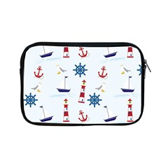Seaside Nautical Themed Pattern Seamless Wallpaper Background Apple iPad Mini Zipper Cases