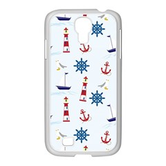 Seaside Nautical Themed Pattern Seamless Wallpaper Background Samsung GALAXY S4 I9500/ I9505 Case (White)