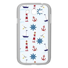 Seaside Nautical Themed Pattern Seamless Wallpaper Background Samsung Galaxy Grand DUOS I9082 Case (White)