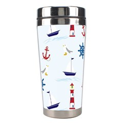 Seaside Nautical Themed Pattern Seamless Wallpaper Background Stainless Steel Travel Tumblers