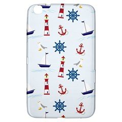 Seaside Nautical Themed Pattern Seamless Wallpaper Background Samsung Galaxy Tab 3 (8 ) T3100 Hardshell Case